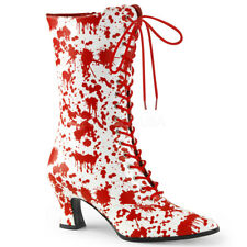 Funtasma VICTORIAN-120BL Women's White Red Low Heel Front Lace Up Ankle Boots