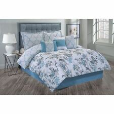 Twin Full Queen King Bed Blue Gray Tan White Floral Geometric 7 pc Comforter Set