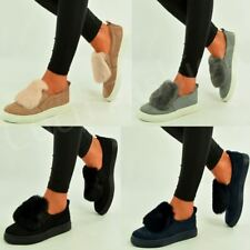 New Womens Fluffy Trainers Flat Slip On Sneakers Plimsoll Pumps Shoes Size Uk