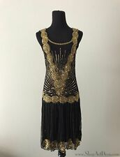 Black + Gold 1920s Flapper Dress | Drop Waist Gatsby Gown | NWT