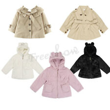 Girls Faux Fur Hooded Baby Trench Coat Thick Jacket Cloak Outerwear Winter Warm