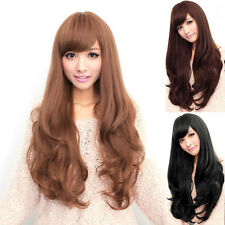 Black Brown Hair Full Wig Fashion Long Curly Wigs Cosplay Party Costume Women