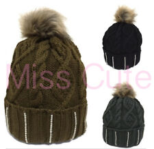 WOMENS CABLE KNITTED SKI HAT LADIES DIAMANTE FAUX FUR POM BOBBLE BEANIE HATS