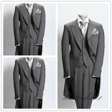 Dim Gray Trim 3Pcs Men's Suits With Tail Coat Slim Fit 40r 42r 44r 46r Custom
