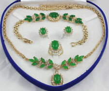 18K Gold Plated Inlay Crystal Opal Agate Jade Necklace Bracelet Ring Earring Set