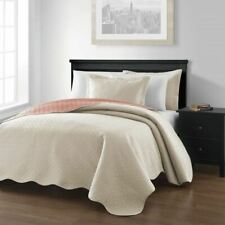 NEW Queen King Bed Bedspread Coverlet Quilt 3pc Set Reversible Ivory Salmon Pink