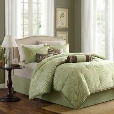 Queen Cal King Bed Green Brown Tropical Palm Fronds Plants 7 pc Comforter Set