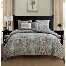 NEW Twin XL Full Queen King Bed Gray Blue Off White Medallion 5 pc Comforter Set