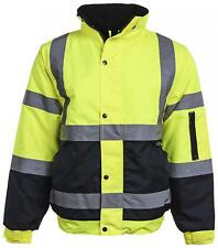 High Visibility Bomber Jacket Two Tone Yellow And Black Reflective Tapes