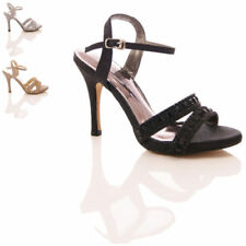 LADIES WOMENS STRAPPY JEWEL STILETTO EVENING WEDDING SANDALS SHOES SIZE 3-8