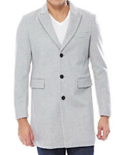MEN'S CLASSIC 33% WOOL BLEND SINGLE BREASTED SILVER GREY TOPCOAT OVERCOAT
