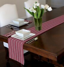 "RED & WHITE MODERN STRIPED TABLE RUNNER TOPPER SWEET JOJO DESIGNS  72"" 90"""