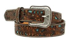 Ariat Western Mens Belt Leather Floral Embossed Overlay Turq Brown A1030002