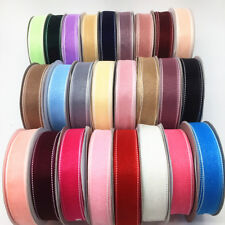 "5/50 Yards 1""(25mm) Satin Line Edge Sheer Organza Ribbon Bow Wedding Craft DIY"