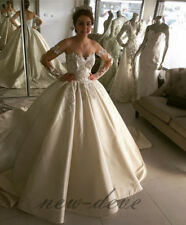 A Line Lace Applique Beading Wedding Dress White Long Sleeves Bridal Gown Custom