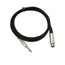 "XLR Female to 1/4"" 6.35mm TS Male Unbalanced Mono Audio Mic OFC Cable Black"