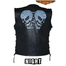Men's Motorcycle Cowhide Leather Vest With Reflective Skulls With Side Lace