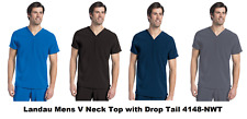 Landau Men's Scrubs V Neck Top with Drop Tail 4148 All Colors/Size NWT