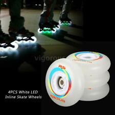 4pcs / pack Kids Wheels 80/76/72mm 86A White LED Flash Inline Skate Wheels V3U6