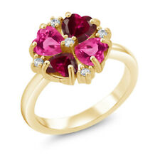 2.48Ct Red Created Ruby Pink Created Sapphire 18K Yellow Gold Plated Silver Ring
