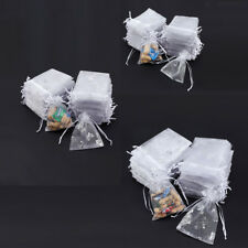100 White Butterfly Organza Drawstring Wedding Party Gift Pouches Candy Bag