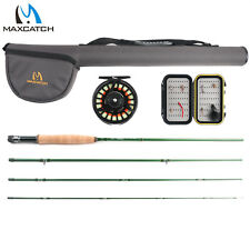 Maxcatch 5/6WT 9FT Premier Fly Fishing Rod Combo, Pre-spooled Reel, Box, Flies