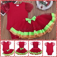 Christmas Infant Baby Girl Outfit Short Bubble Sleeves Tutu Skirt Romper Set New
