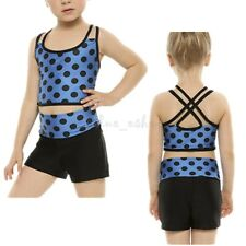 2PCS Girls Tankini Polka Dots Tank Top with Bottoms for Ballet Dance Gym Workout