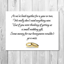 30 PERSONALISED WEDDING MONEY POEM / GIFT POEM CARDS / HONEYMOON WISH POEM CARD