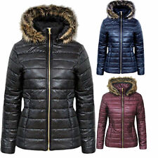 New Womens Ladies Shiny Wet Look Puffer Quilted Bubble Fur Hood Coat Jacket 8-14
