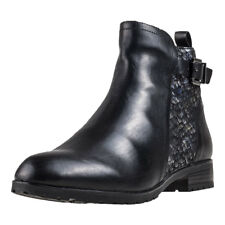 Caprice Buckle Chelsea Boot Womens Black Leather Casual Ankle Boots Zip