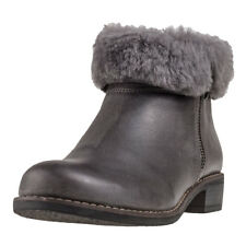 Caprice Comb Fur Boot Womens Grey Leather Casual Ankle Boots Zip New Style