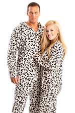 Black & White Dalmatian Print Unisex Polar Fleece Adult Sized Footed Pajamas