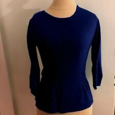 CHIC!! Boden cotton cashmere blend peplum autumn jumper NAVY UK 6/8/12/14/16