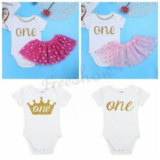 Infant Baby Girls ONE Birthday Outfit Romper Tutu Skirt  Dress Costumes Outfits