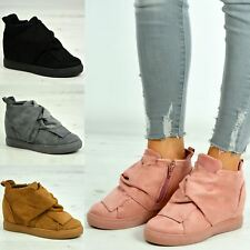 Womens Ladies Suede Ankle Wrap Zip Wedge Trainers Sneakers Shoes Size Uk 3-8