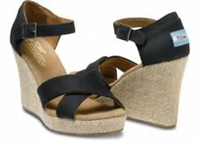 TOMS Black Canvas Strappy Women's Wedges. Style: 24001B12