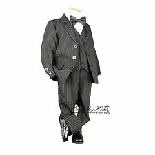 Boys Formal Suit Sold Separate Jacket Vest Pants Pageboy 000–16 BLACK PINSTRIPE