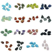 5pcs Natural Gemstone Pendant Charm Stone Bead With Silver Bail Fit Necklace