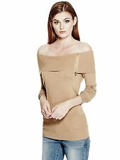 GUESS Sweater Women's Sexy Off The Shoulder Zips Pullover Top L Light Brown NWT