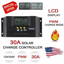US Stock 30A PWM Solar Panel Battery Regulator Charge Controller 12V/24V Auto TB