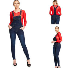 NEW WOMENS LADIES STRETCH BLUE WASH FADED DENIM DUNGAREES JUMPSUIT SKINNY JEANS