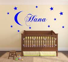 MOON STARS wall sticker Personalised any name kids art DECAL DECOR