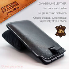 Genuine Premium Leather Luxury Pull Tab Flip Pouch Sleeve Phone Case Cover✔BLACK