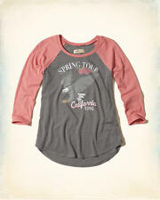 Abercrombie & Fitch Hollister T-Shirt Women's Vintage Raglan Graphic XS Grey NWT