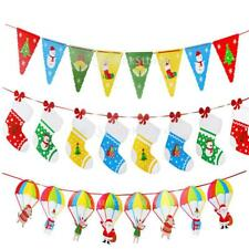Christmas Paper Banner Santa Stocking Garland Xmas Party Outdoor Ornaments