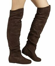 RF Room Of Fashion TrendHI-02 Vegan Slouchy Pullon Over-the-Knee Boots BROWN SU