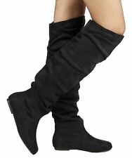RF Room Of Fashion TrendHI-02 Vegan Slouchy Pullon Over-the-Knee Boots BLACK SU