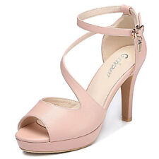 Girls Womens Ankle Strap High Heel Stiletto Sandals Shoes Fish Toe Buckle