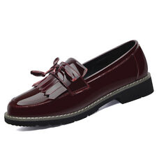 Girls Womens Patent Leather Tasseled Loafer Shoes School Oxford Casual